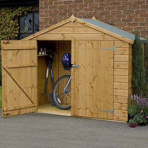 7x3 shiplap wooden garden apex bike store shed double doors by waltons