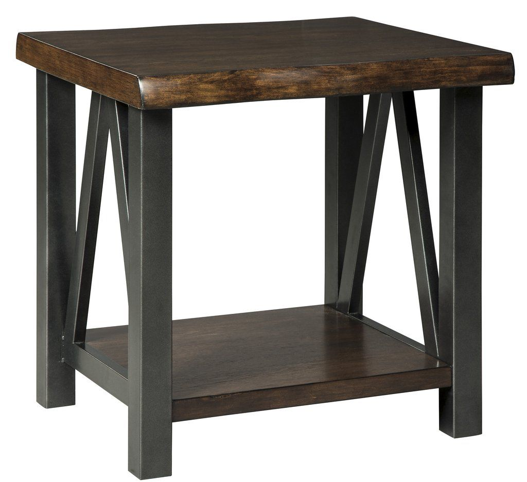Esmarina Walnut Brown Color Rectangular End Table. Naturally Chic With A  Touch Of Urban Industrial Flair, The Two Tone Esmarina End Table  Beautifully ...