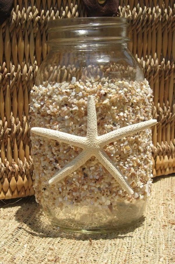 Embellish Mason Jar With Glue And Crushed Beach Shells Sand Mason Jar Diy Mason Jars Mason Jar Crafts