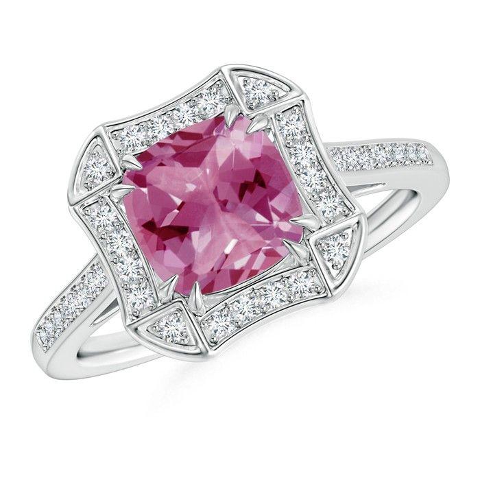 Angara Cushion Pink Tourmaline Ring in 14k White Gold 6HumS8