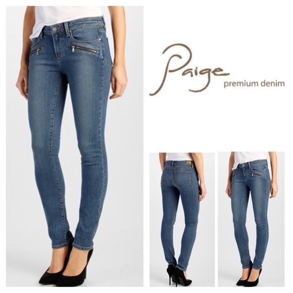 """Paige Indio Zip Mid Rise Ultra Skinny Jeans.  NWT. Paige Indio Zip Brett No Whiskers Mid Rise Ultra Skinny, 54% rayon, 23% cotton, 22% polyester, 1% spandex, machine washable, 30"""" waist, 8.5"""" front rise, 14"""" back rise, 29.75"""" inseam, 10"""" leg opening, stretchy, exposed zips detail hips, hand sanding through knees and seat, five pockets, belt loops, measurements are approx.  Paige new Transcend fabric features a formula that yields luxuriously denim that won't stretch out and will turn heads…"""