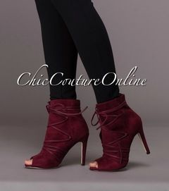 Glam Wine Red Lace-Up Design Faux Suede Booties