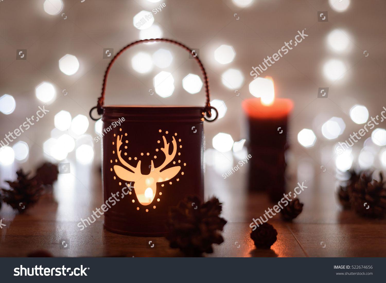 christmas candle holder and christmas lights holiday magic concept