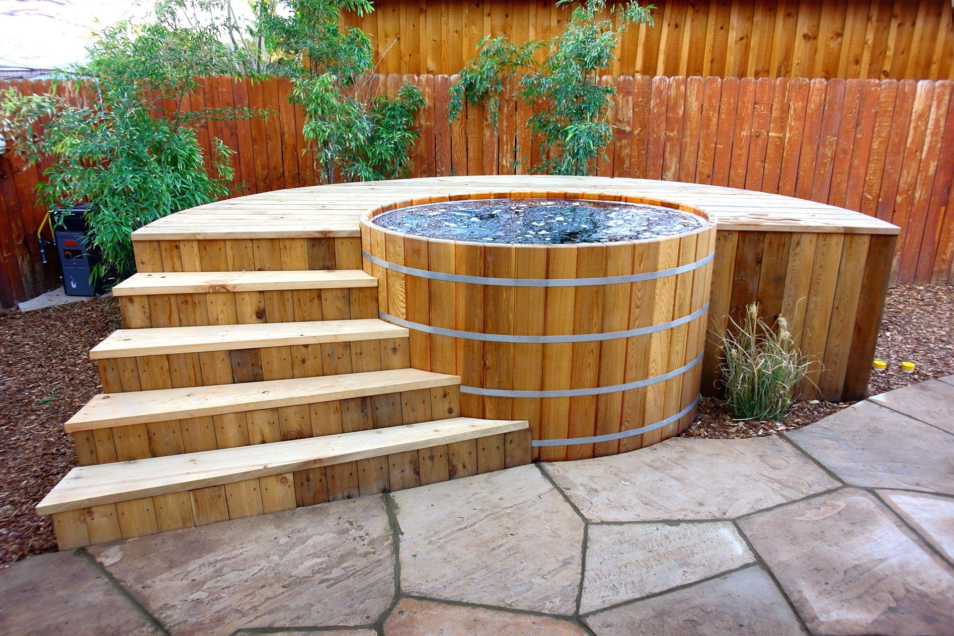 Cedar Hot Tub From Zen Bathworks With My Design Of A Cedar Deck Erin S Gardens