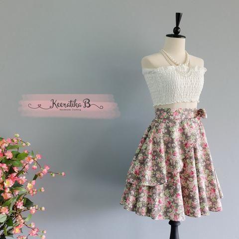 Summer's Whisper Floral Skirt Spring Summer Sweet Gray Pink Floral Skirt Party Cocktail Skirt Wedding Bridesmaid Skirt Gray Floral Skirts
