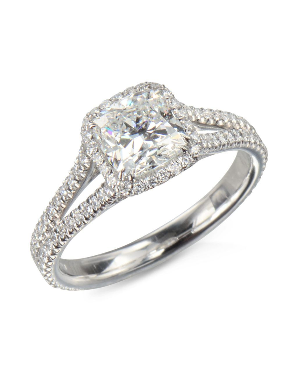 20bb7109d A platinum diamond split shank mounting for 1.25+ radiant center stone. The  price is for the setting only.