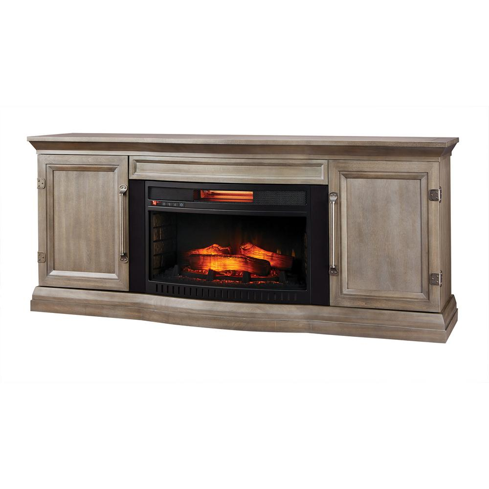 Home Decorators Collection Cinder Lake 65 In Tv Stand Infrared Electric Fireplace With Sound Bar In Gray Finis Fireplace Electric Fireplace Fireplace Tv Stand Tv stand with fireplace and soundbar