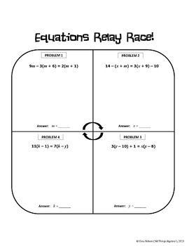 Multi-Step Equations Relay Race Activity   Math school ...