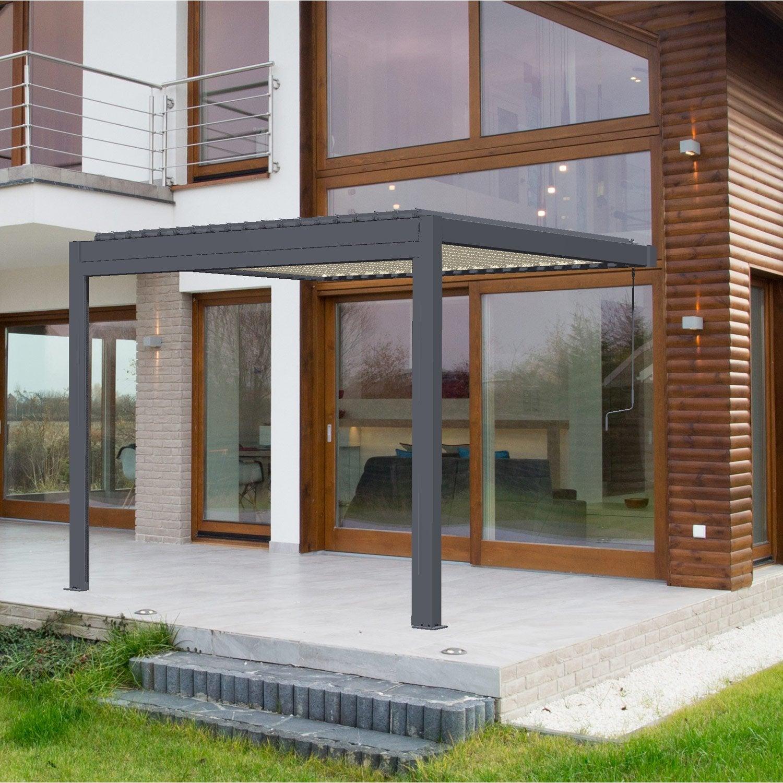 Avis Veranda En Kit Leroy Merlin pergola adossée cadix, aluminium gris anthracite, 9 m²