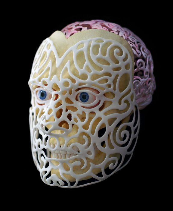 Для создания «21st Century Self-Portrait» американский художник Joshua Harker использовал данные компьютерной томографии мозга и 3D-сканирования лица. Полученная информация была детально обработана и отображена в качестве компьютерного проекта, который позже художник распечатал на 3D-принтере.