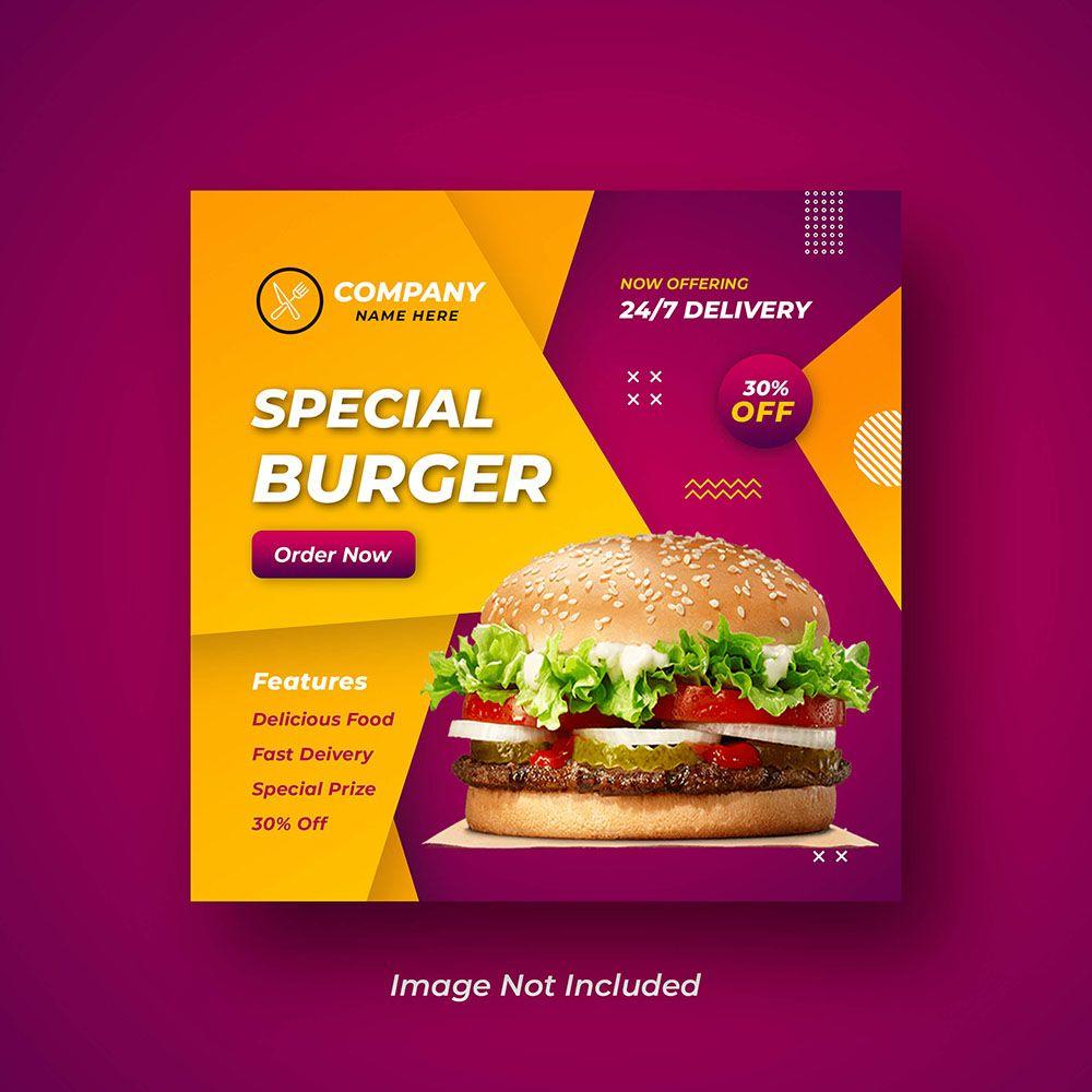 Burger Social Media Or Instagram Banner Design For Restaurant Food Restaurant Recipes Food Instagram Banner