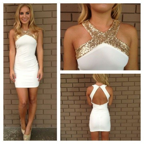 Short White Dress with Gold Heels