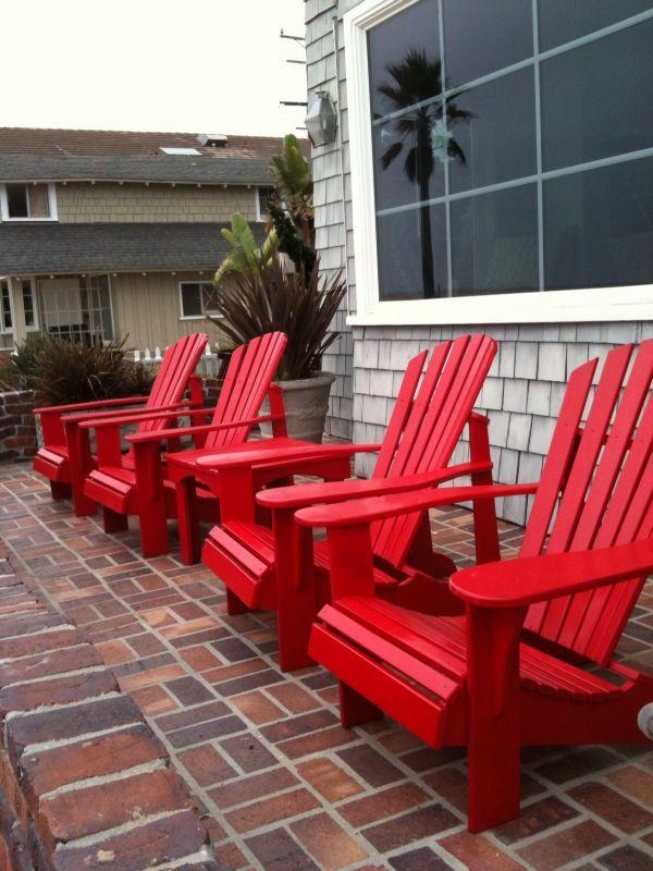 red adirondack chairs lawn chair with canopy adirondacks balboa pennisula pinterest backyard ideas affair porch terrace