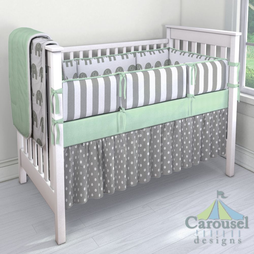 Crib Bedding In White And Gray Elephants White And Gray Stripe
