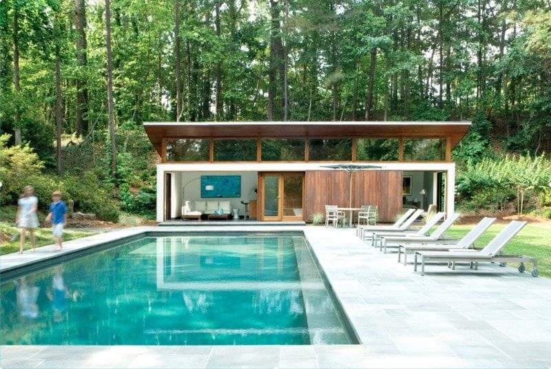 Midcentury Modern Pool Designs The Minimalist Lines Of Home Are Duplicated In Offset Swimming Design
