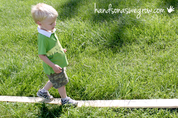 No-work balance beam. Help toddlers practice balance & build core strength.  Plus it's fun!