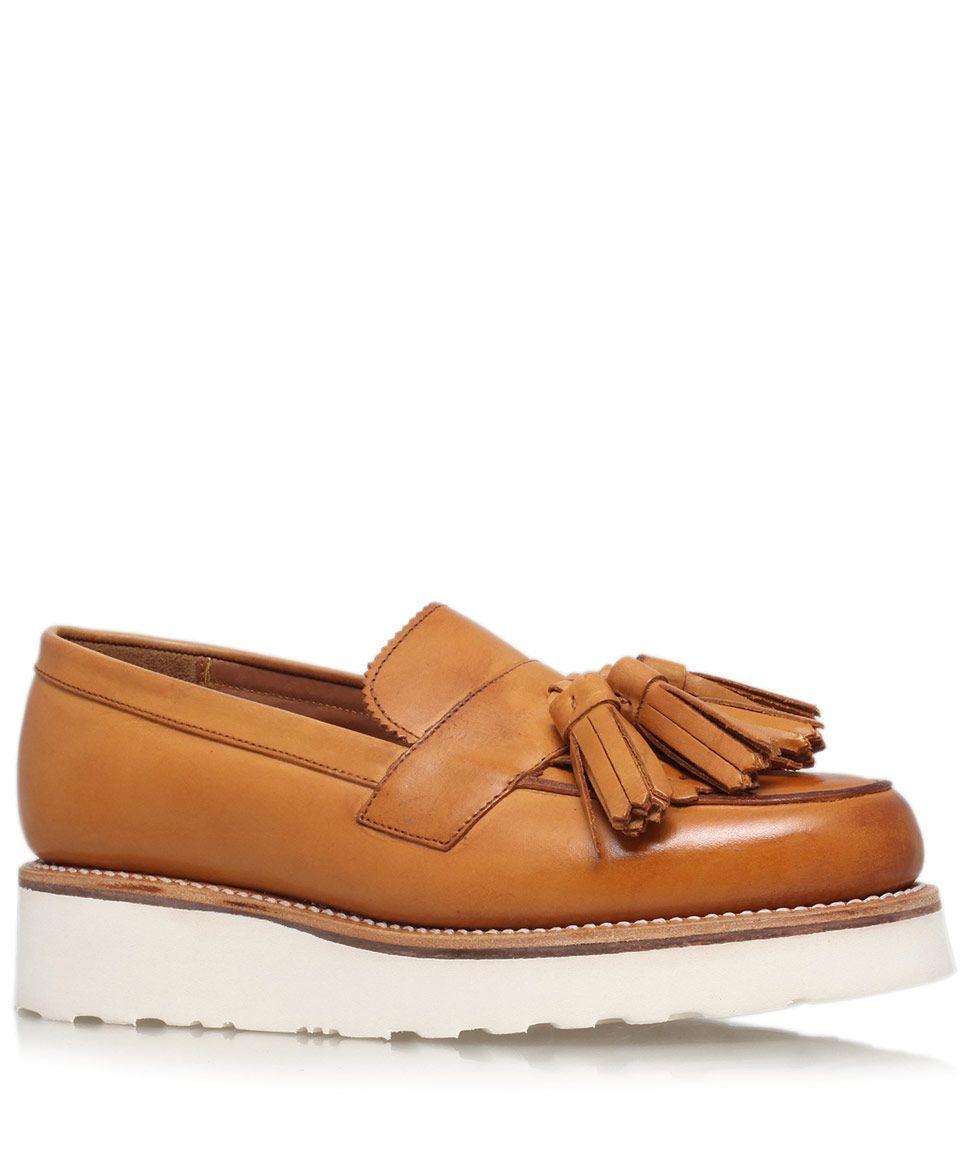 8cf49ee6292 Grenson Tan Leather Clara Tassel Wedge Loafers