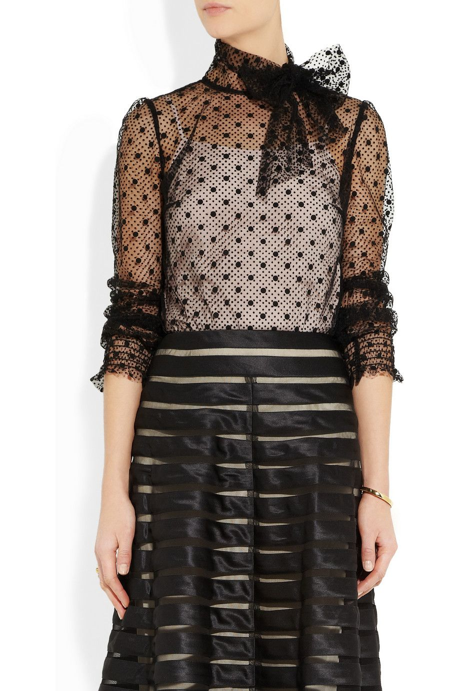 acfceef0bb2afb RED Valentino | Polka-dot tulle blouse | NET-A-PORTER.COM | Keepin ...