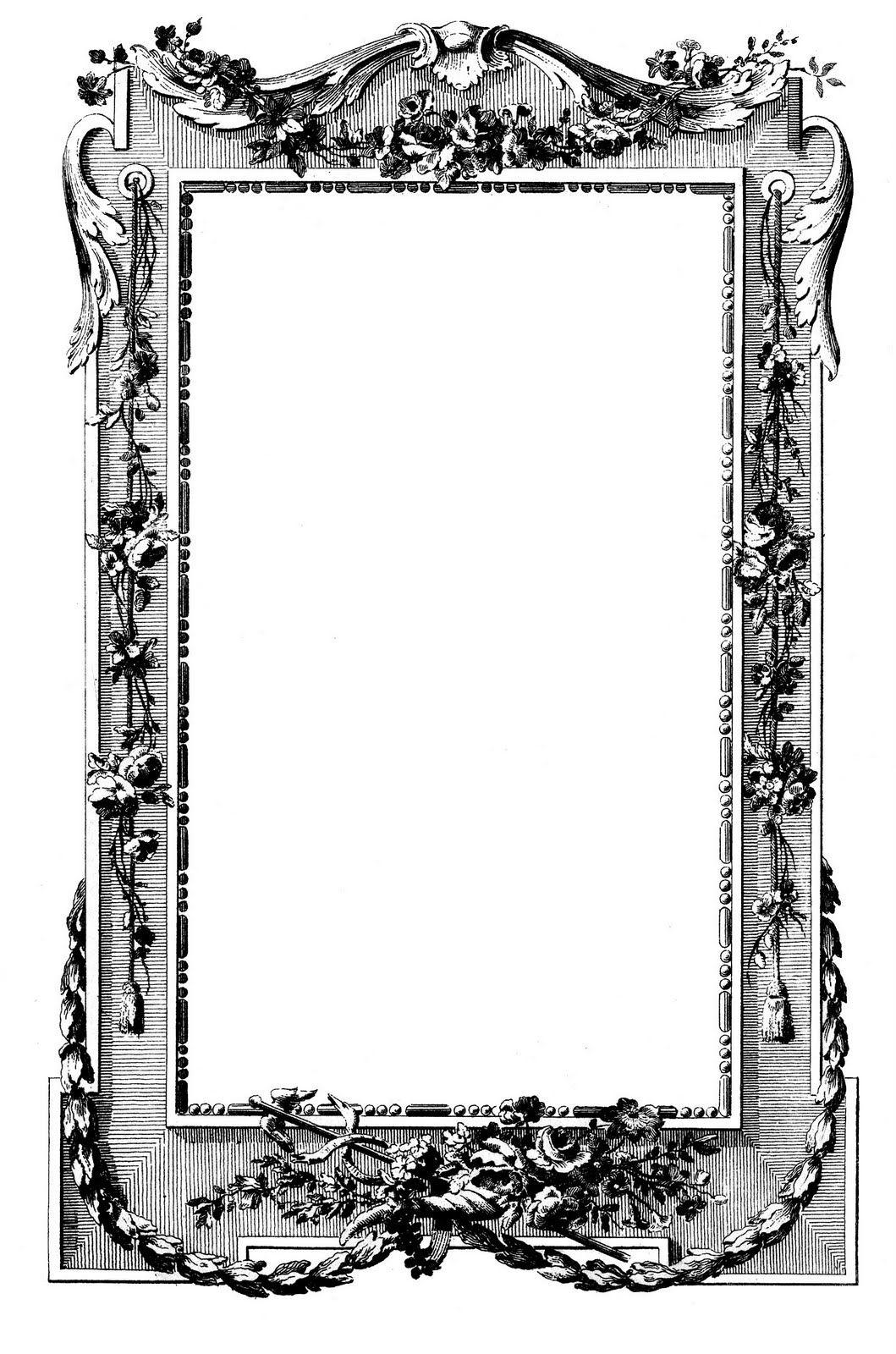 French Graphicframe Graphicsfairy001a Jpg Jpeg Image 1059x1600 Pixels Scal Printable Frames Clip Art Vintage Antique Images
