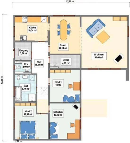Individuell Geplant Bungalow Mit Integrierter Garage Und Carport Www Jk Traumhaus De Bungalow Grundriss Bungalow Haus Grundriss