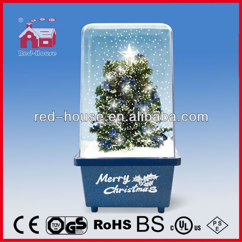 Christmas Tree With Plastic Transparent Cover Top Star Decorated Led Lights Snowing Christmas Decoration View Decoration Red House Product Details From Na Noel