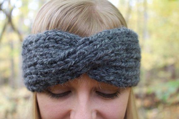 Chunky knit twisted turban handmade headband ear warmer | the ...