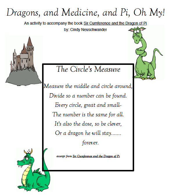 Pi Day Worksheet From Sir Cumference And The Dragon Of Pi Math
