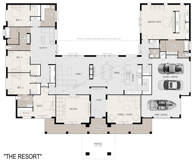 1000 Ideas About Unique Floor Plans On Pinterest Craftsman Courtyard House Plans U Shaped House Plans Dream House Plans