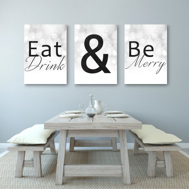 Set Of Three Pictures Great For Kitchen Or Dining Room Etsy Home Decoration Eat Drink And Be Merry Decor Artwork Deco