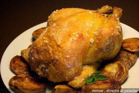 Pollo De Corral A La Sal Receta Pollo De Corral Pollo Pollo De Corral Al Horno