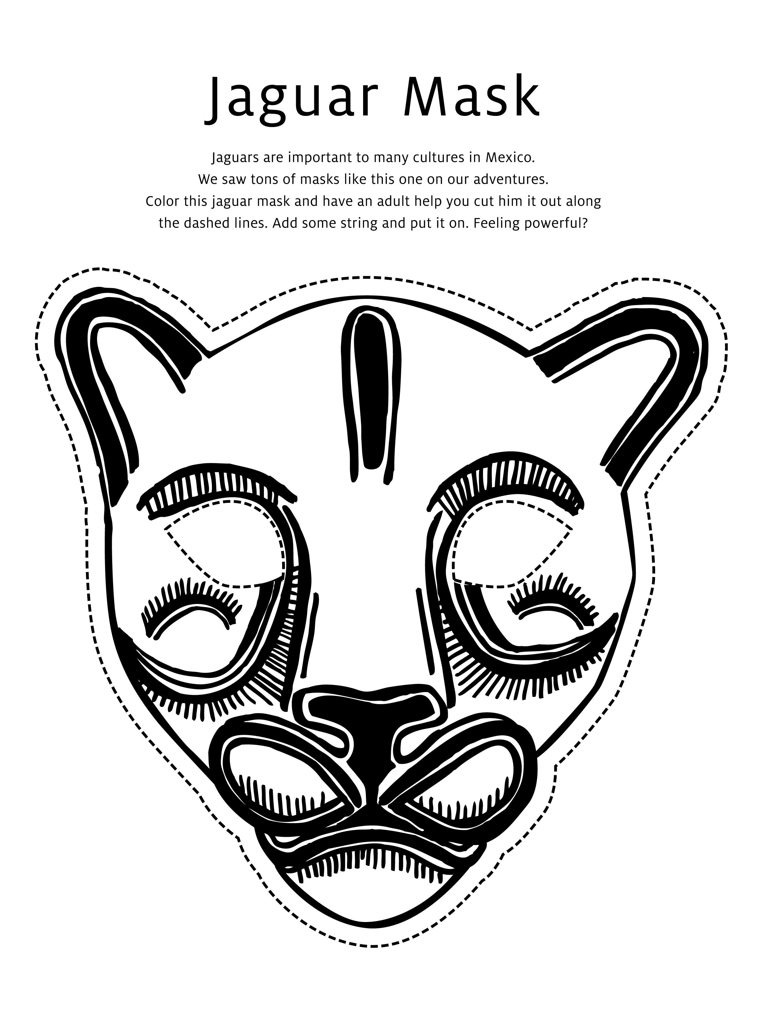 jaguar-mask-coloring-page.jpg 2,469×3,300 pixels | School Crafts ...