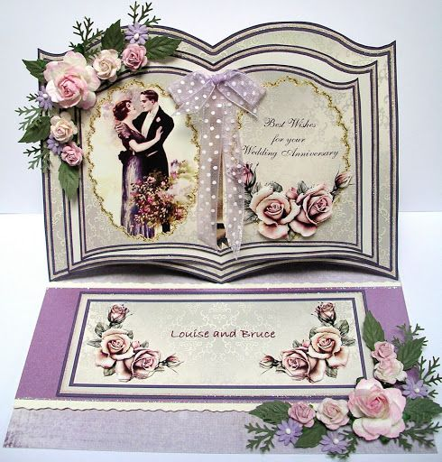 Bookatrix, Easel Card, Vintage Style. Louise And Bruce 8th