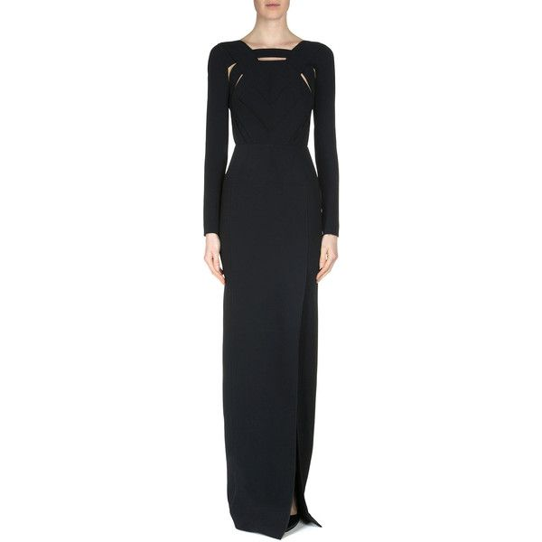 Roland Mouret Bermuda Crepe Cutout Gown (€1.195) ❤ liked on Polyvore featuring dresses, gowns, black, crepe dress, straight dress, long sleeve cut out dress, slit gown and cut out gown