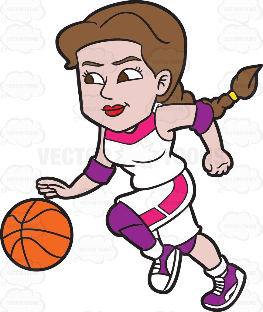 A Female Basketball Player Dribbling A Ball While On The Run