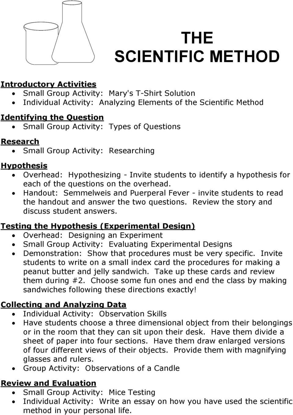 Scientific Method Story Worksheet the Scientific Method