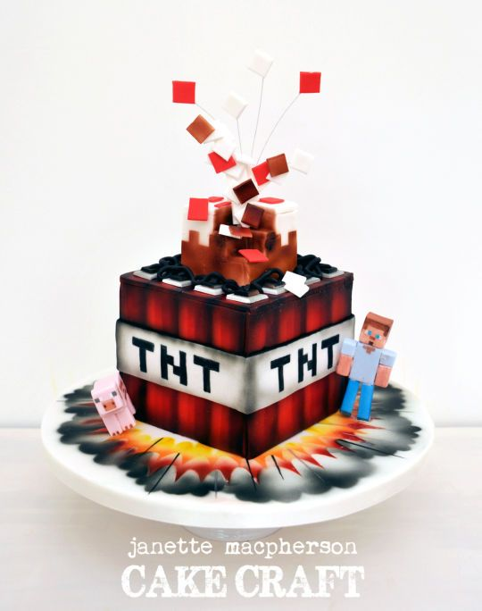 Minecraft Tnt Birthday Cake Video Game Cakes Pinterest