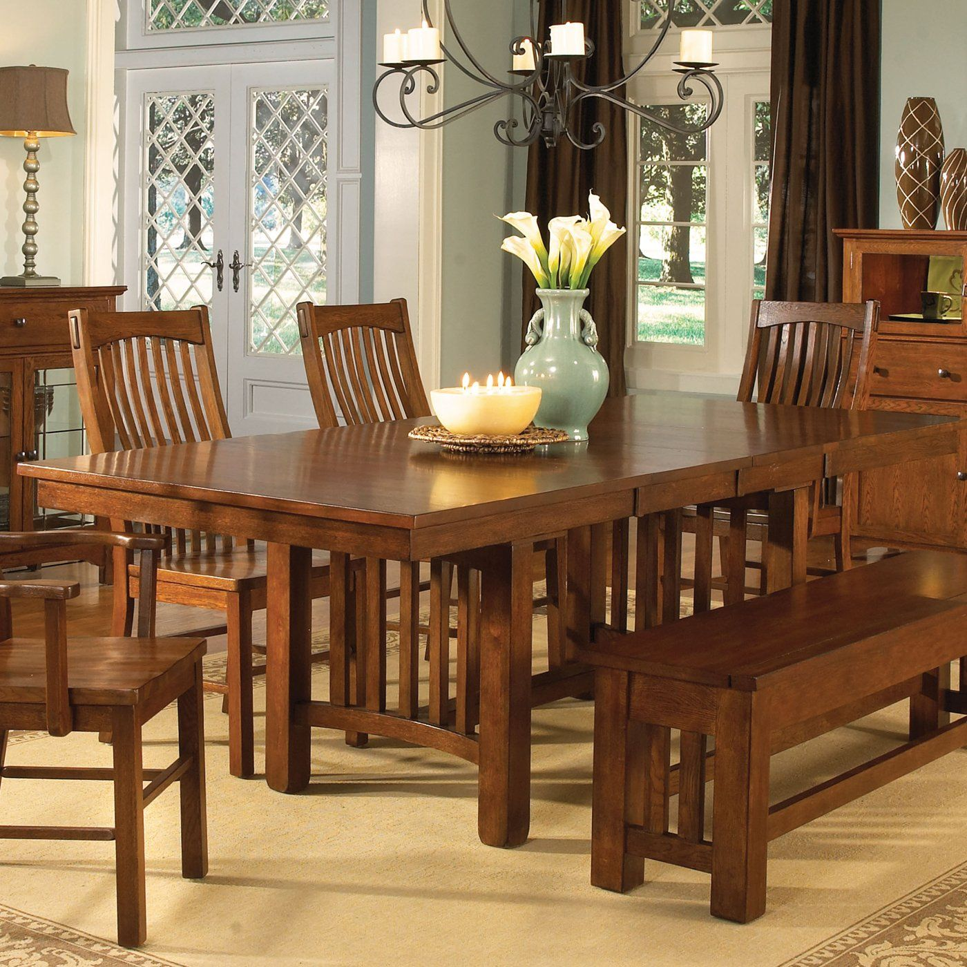 A America 2 Piece Laurelhurst Trestle Dining Table, Mission Oak   Home  Furniture Showroom