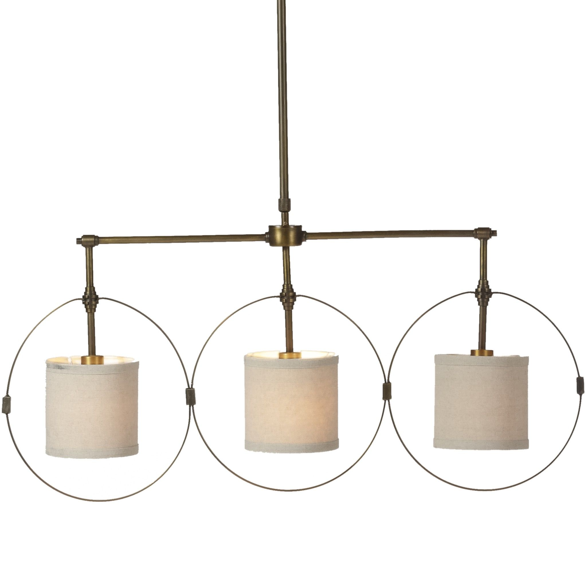 This triple drum pendant light is deceptively simple detailed with this triple drum pendant light is deceptively simple detailed with perfectly proportioned connectors three antique brass circles surround mini drum shades aloadofball Images