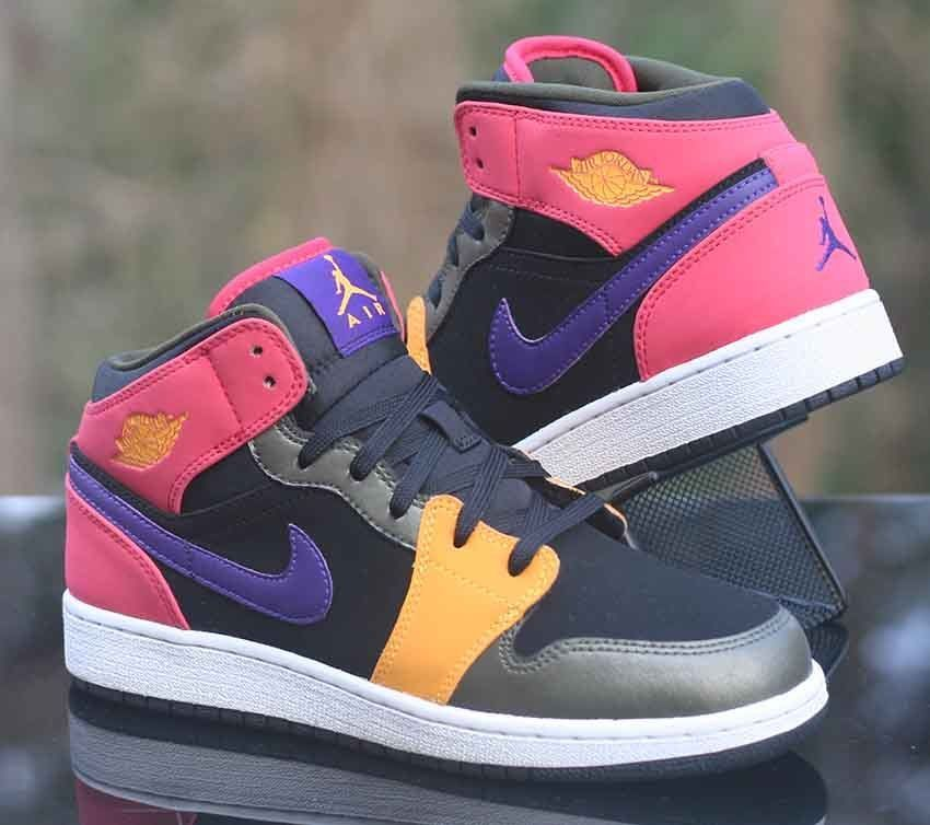 quality design bee78 c76be Nike Air Jordan 1 Mid Retro Kids Black Purple Fusion Red 555112-016 Girl s  Size  Nike  Athletic