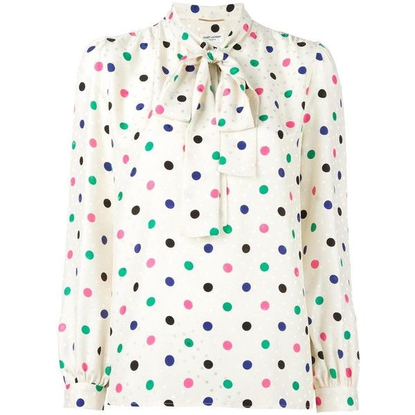 13d4bb347110 Saint Laurent - polka dot lavaliere blouse - women - Silk - 42 ($1,990) ❤  liked on Polyvore featuring tops, blouses, multicolor, white long sleeve  blouse, ...