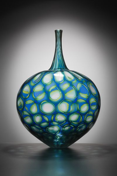 "Sam Stang | Blown Glass vessel - ""Exquisite form, compelling use of pattern, dynamic color""...Ann McIntyre"