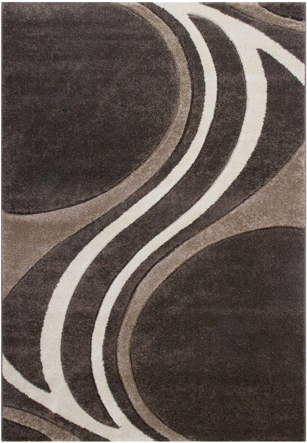 Florida 8006 Brown Teppich Carpet Modern Grau Beige Braun Weiss