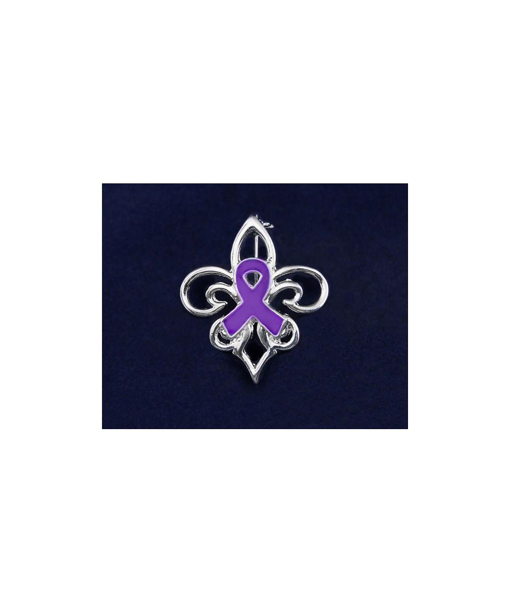 Fleur De Lis Pin Teal Ribbon Purple Ribbon Pins Jewelry