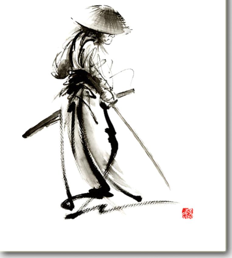 """Budo""  from the talented Mariusz Szmerdt | Buy your own super high-quality copy at   https://www.etsy.com/listing/186391123/samurai-ronin-japan-art-samurai-sword?ref=market"