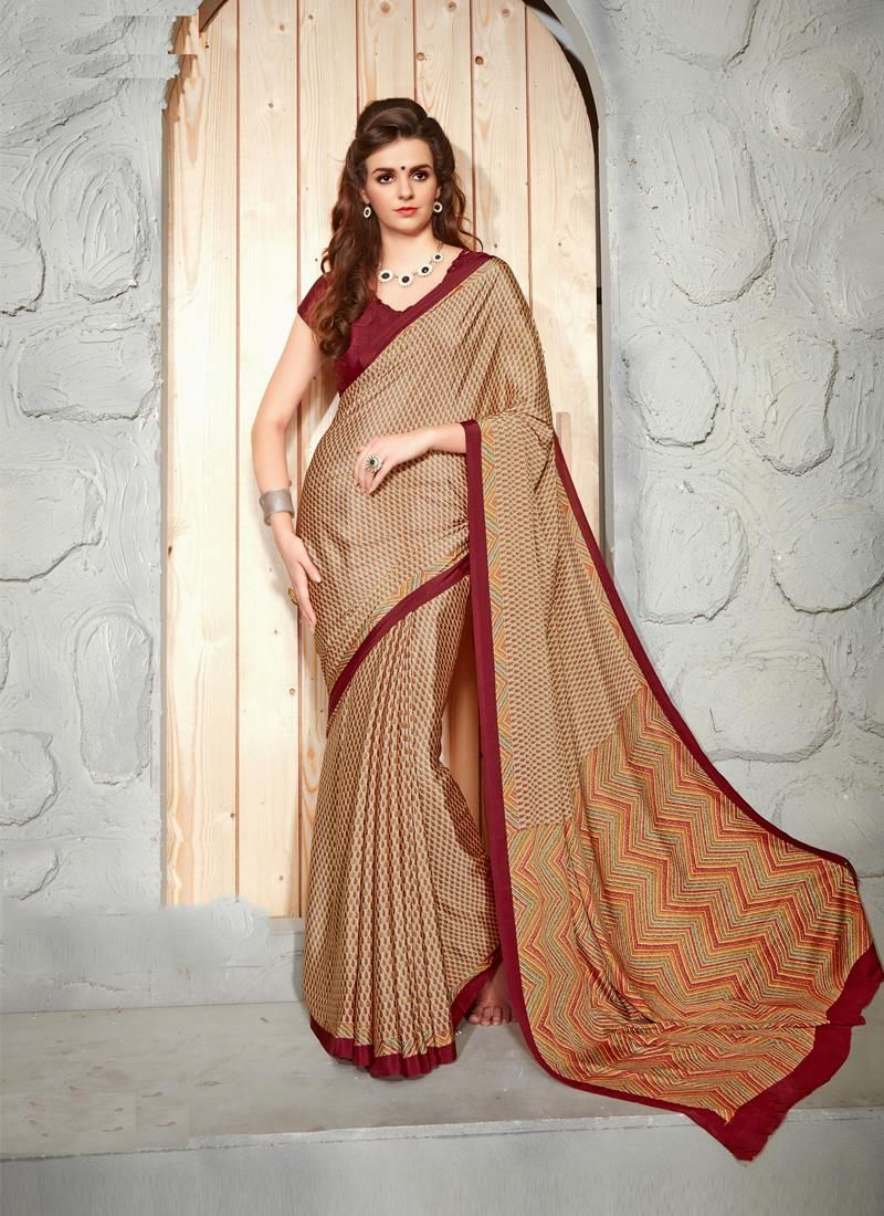 Incredible Faux Crepe Patch Border Work Casual Saree