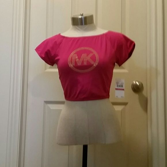 NWT Michael Kors top Dark pink with gold bling crop/sports top NWT really stretchy MICHAEL Michael Kors Tops
