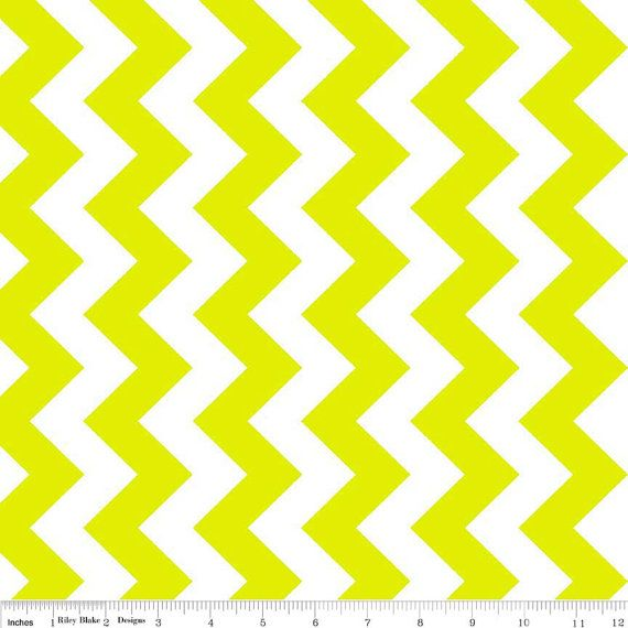 Fabric, Summer Sale Blowout!!! Neon Green Chevron Fabric by Riley ...