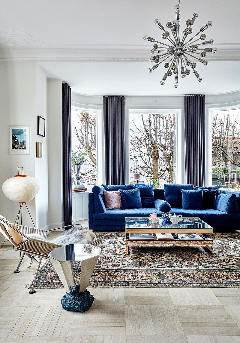 Pink Kitchen And Cool Paintings Bright Apartment In Copenhagen Blue Velvet Sofa Living Room Living Room Sofa Design Living Room Sofa