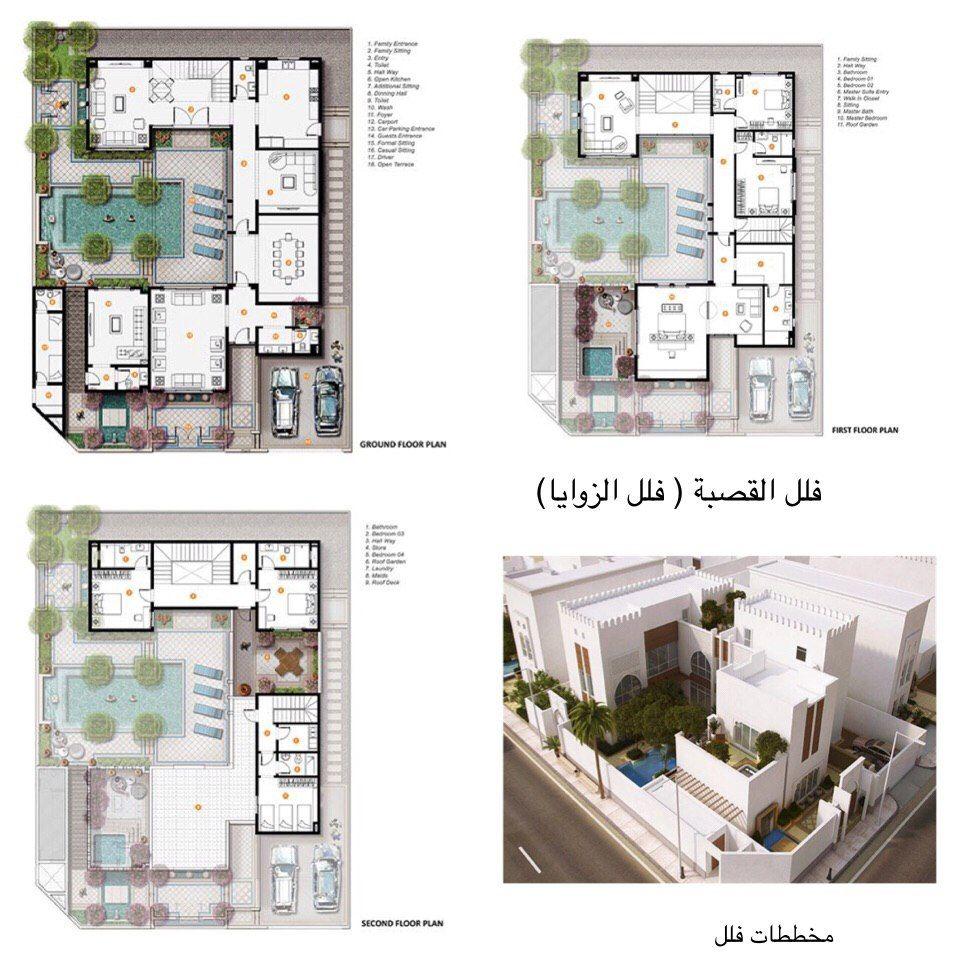 تصاميم معمارية مخطط فيلا القصبة House Layouts House Plans Mansion House Outside Design