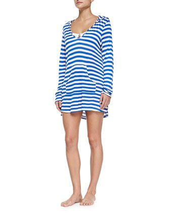 89a161d196433 Striped Hooded Long-Sleeve Coverup, Blue by Ella Moss Swim at Neiman Marcus.